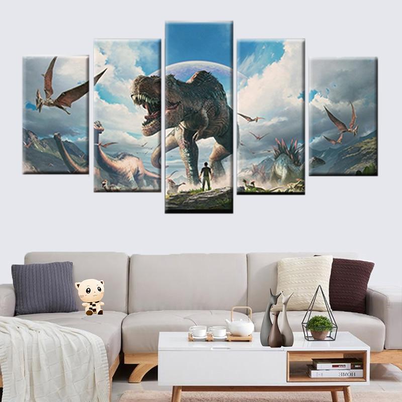 Dinosaur Skull Pop Art Canvas Print Animal Wall Office Decor Dinosaur Skeleton
