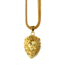 NYUK Mens Gold Lion Head Charm 29.5inch Franco Chain Hip Hop Golden Crown King Lion Pendant Necklace Men Women Elegant Gift Box