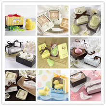 100pcs/lot wedding favor soap fancy scented soap with gift package for party shower soap free shipping(China)