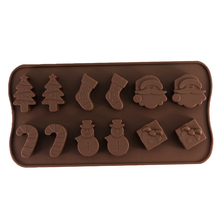 Christmas Chocolate Mold Snowman Socks Trees Silicone Cake Mould Candy Cookies