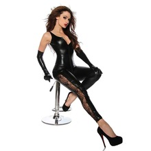 Black Faux Leather Sleeveless Open Crotch Catsuit with Zipper Lace Leg Sexy Lingerie Latex Catsuit Fetish Wear Sexy Costumes Hot