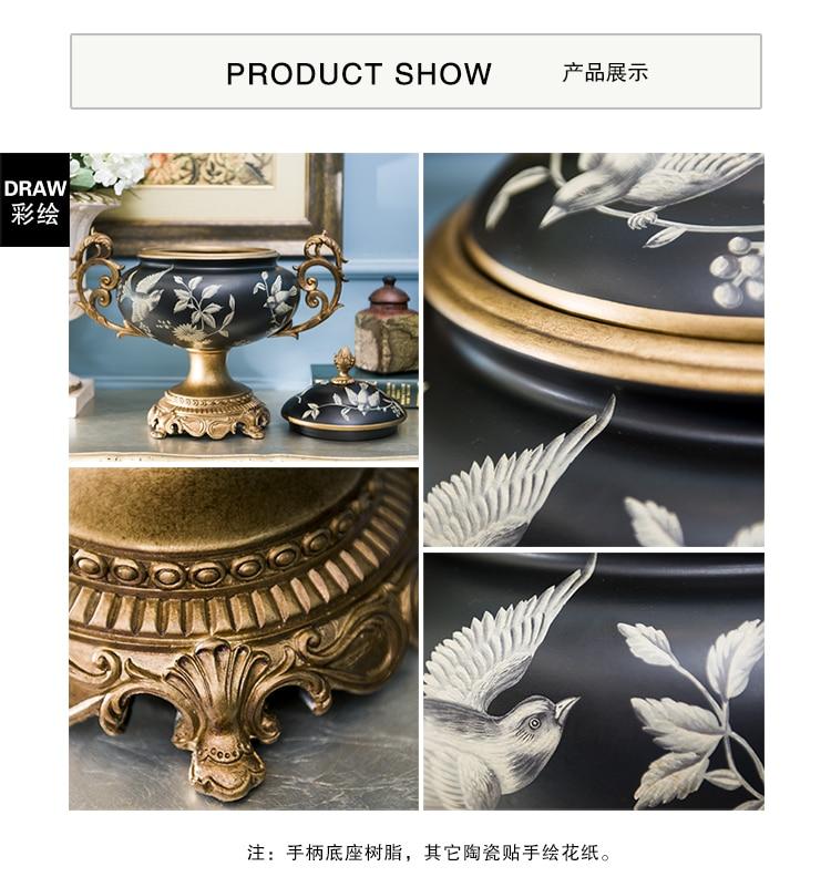 Rui Shikai poem European ceramic painting bird foot high storage tank model Home Furnishing binaural room decoration
