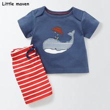 Buy Little maven brand children 2018 summer baby boys clothes cotton children's sets whale applique t shirt + striped pants 20215 for $9.86 in AliExpress store