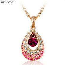 Kuziduocai 2017 New Fashion Fine Jewelry 4 Colors Dazzling Gold Color Crystal Angel Teardrop Necklaces & Pendants For Women N-94(China)