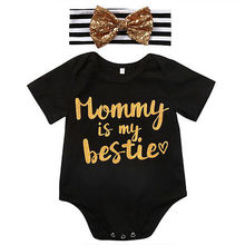 Baby Girl Bodysuit Cotton Summer Bodysuit Cute Newborn Infant Baby Girl Mommy is my bestie Headband Outfits Baby Girl Clothes(China)