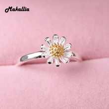 S925 sterling silver jewelry  wholesale element silver daisy opening ring sun flower gold flower female wedding ring