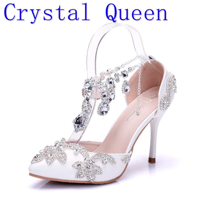 Crystal Queen Sandals Woman Wedding Shoes Bride High Heels Party Ladies Shoes Women Crystal Rhinestone Pointed Toe High Heels<br>