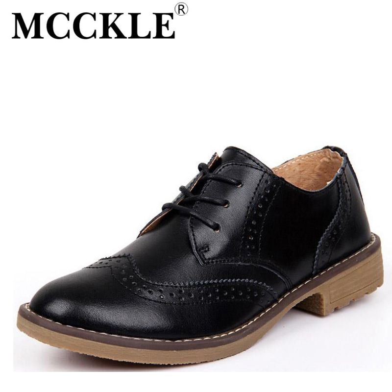 MCCKLE Woman fashion Leather Brogue Shoes Lace-Up Ladies Flats Shoes for Women High Quality casual Dress Shoes Woman J4363<br><br>Aliexpress
