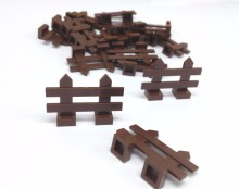 Garden DIY Brick Parts 100pcs/Lot Brown Fence Block Compatible with Legoe Block Accessories