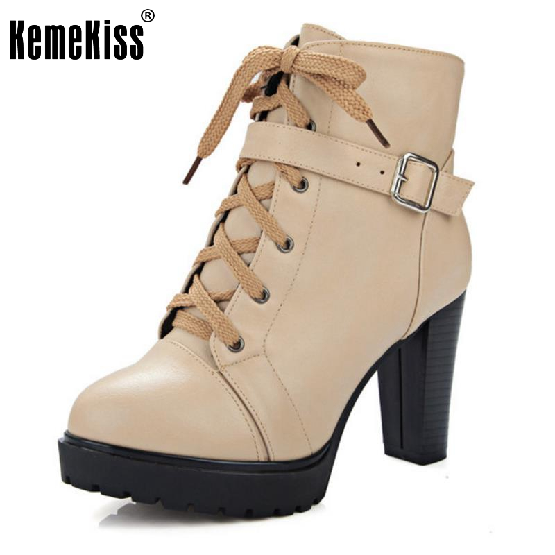 Russian Shoes Black Platform Martin Boot Women With Zipper High Heels Shoes Woman Fashion Lace Up Ankle Boots Size 33-43<br>