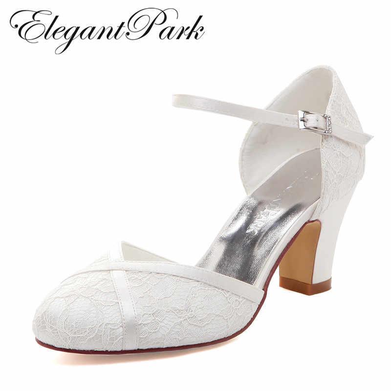 Woman Shoes Mid Block Heel Wedding Bridal White Ivory Closed Toe Comfort  lace satin Buckle Bride d8818eeda627