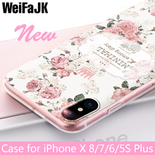 WeiFaJK Girl Phone Case for iPhone 5s 5 Cases for iPhone 6 6s Cover Flower Soft silicone Shell for Apple iPhone 7 Plus 8 X Case(China)