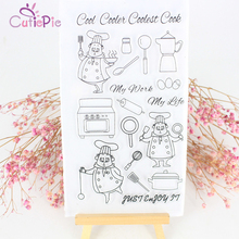 CUTIEPIE Cool Cook Life Transparent Clear Stamps for Scrapbooking DIY Silicone Seal Photo Album Decor Embossing Folder Stencils(China)