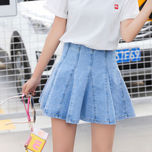 Buy 2018 Summer Fashion Women High Waist Pleated Denim Mini Skirt Casual A-line Blue Solid Female pleated short Jeans Skirts sexy for $14.77 in AliExpress store