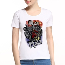 New Arrival Women Max T-shirt S-XXL t shirt Iron Maiden the trooper Rock Band White tee shirt brand clothing K9-9#