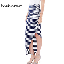 Richkoko Apparel Sexy High Low Wrap Ankle-length Skirt Stripe Side Split High Waist Bodycon Skirt Casual Women Skirts