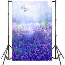 5X7ft Purple Flowers Butterfly Children Wedding Vinyl Backdrop Photo Studio Props Photography Background