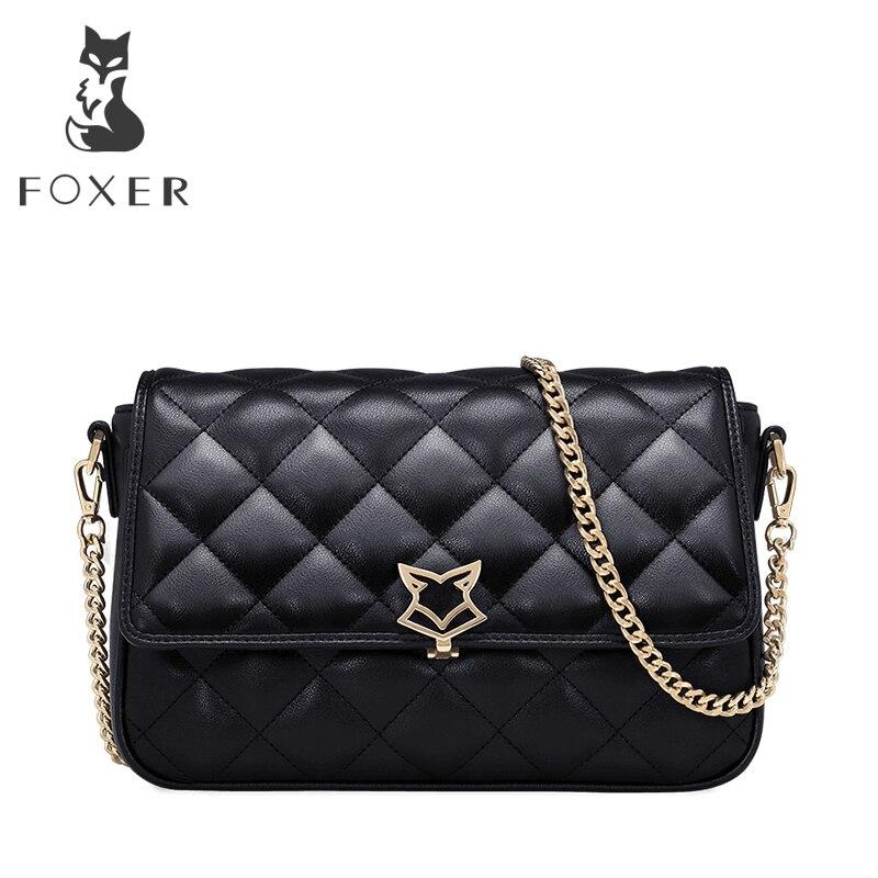 FOXER Brand Women Shoulder Bag Leather Crossbody Bag for Lady High Quality Fashion Messenger Bag Lingge Chain Bag Gift for Girl<br>