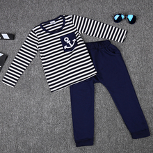 Spring Kids Clothes, Navy Long Sleeve Pullover Striped Sports Suit, Hot Sale New 2017 Casual Boys Clothing Set(China)