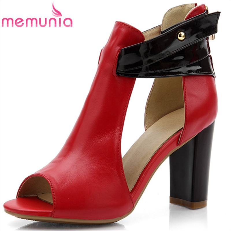 MEMUNIA New Sexy genuine leather shoes open toe high heels women sandals fashion summer shoes women wedding shoes<br>