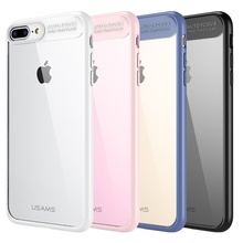 For iPhone 7 Plus USAMS Mant Series Clear PC + TPU Frame Mobile Casing for iPhone 7 Plus 5.5 - Pink