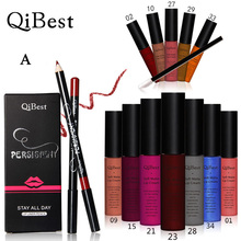 Qibest Makeup Set 12 Colors Lip Gloss + 12 Colors Pencil + 12 Lip Brush Matte Blright Colorful(China)