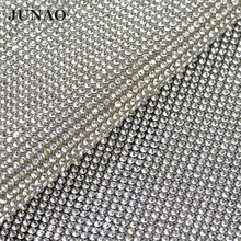 JUNAO 24*40cm Clear Glass Crystal Rhinestones Trim Banding Bridal Applique Strass Mesh In Roll For Wedding Dress Apparel Crafts