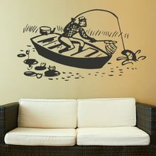 P349 Fishing Boat Wall Sticker Removable Art Decor Wall Paper Poster for Wall of Living Room Kids Romm Free Shipping