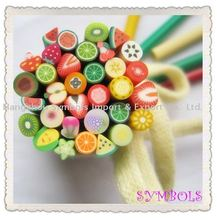 HOT! Free Shipping 100pcs-Mixed 5mm Fruit Cane Fancy Nail Art Polymer Clay Mixed Fruit Series