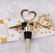 DHL Free Shipping 50pcs/lot Wedding Favors Gifts Gold Heart Shape corkscrew Wine Bottle Stopper