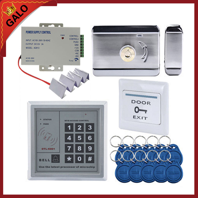 Electronic Security Entry woden steel Electric Gate Door rim lock kit with RFID passcode kepyad 10 tags+10 pcv smart cards<br>