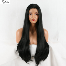 Sylvia natural silky straight hair heat resistant fiber black 1b# color glueless long soft synthetic lace front wig - Sunny store