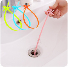 2Pcs Smile Design Colorful Toilet Kitchen Sewer Pipe Blockades Cleaning Plastic Drain Buster Plunger Hooks Free Shipping(China)