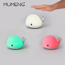 MUMENG LED Night Light Motion Sensor Baby USB Cute Whale Rechargeable Children Night Lamp Toy Lights Silicone Safety dolphin(China)