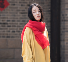 Women Autumn Linen Scarves Ladies Solid Color Wraps Female Fall Scarf(China)