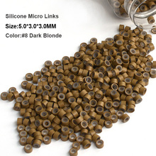Micro Ring Silicone 5.0*3.0*3.0MM 1000Pcs/Bottle #6 Medium Blonde Dreadlock Beads Micro Links Hair Extension(China)