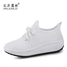 Summer Women Casual Shoes Swing Wedges Breathable Air Mesh Fashion Walking Shoes Platform Tenis Feminino Slip On Zapatos Mujer