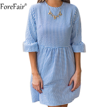 ForeFair Vintage Empire Ruffles Half Sleeve Striped Dress Back Zipper Women Black Red Blue Ruched Casual Tube Dresses(China)
