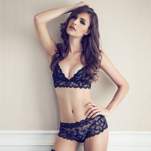 New france Fashion transparent sexy bra set plus size Women lace flower ultra-thin black underwear set