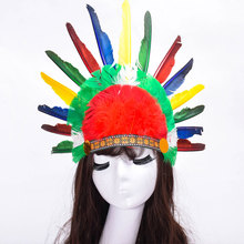 Hot Halloween Carnival Day Colorful Feather Party Hats Headband Indian Style Headwear Villus Chiefs Cap Party Headdress P0.5(China)