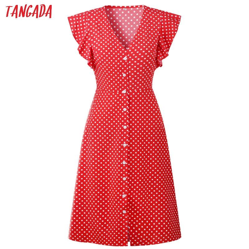 HTB1oJahD1OSBuNjy0Fdq6zDnVXaH - Tangada polka dot dress for women office midi dress 80s 2018 vintage cute A-line dress red blue ruffle sleeve vestidos AON08