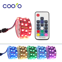 200cm Magnetic SATA RGB LED Strip Light Background Light With 17Key Remote Control For PC Case Easy Disassembly(China)