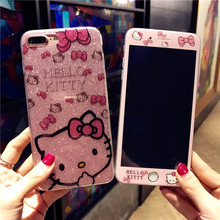 Bling Hello Kitty soft case For iphone 6 6S 6sPlus Pink kt TPU Cover + Tempered Glass Screen Protector for Apple iPhone 7 7Plus(China)