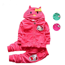 Infant Hello Kitty Tracksuits Children warm Velvet Thicken Hooded Jacket Sweatshirts Pants 2pcs Suit Baby Girl Boy Clothing Set