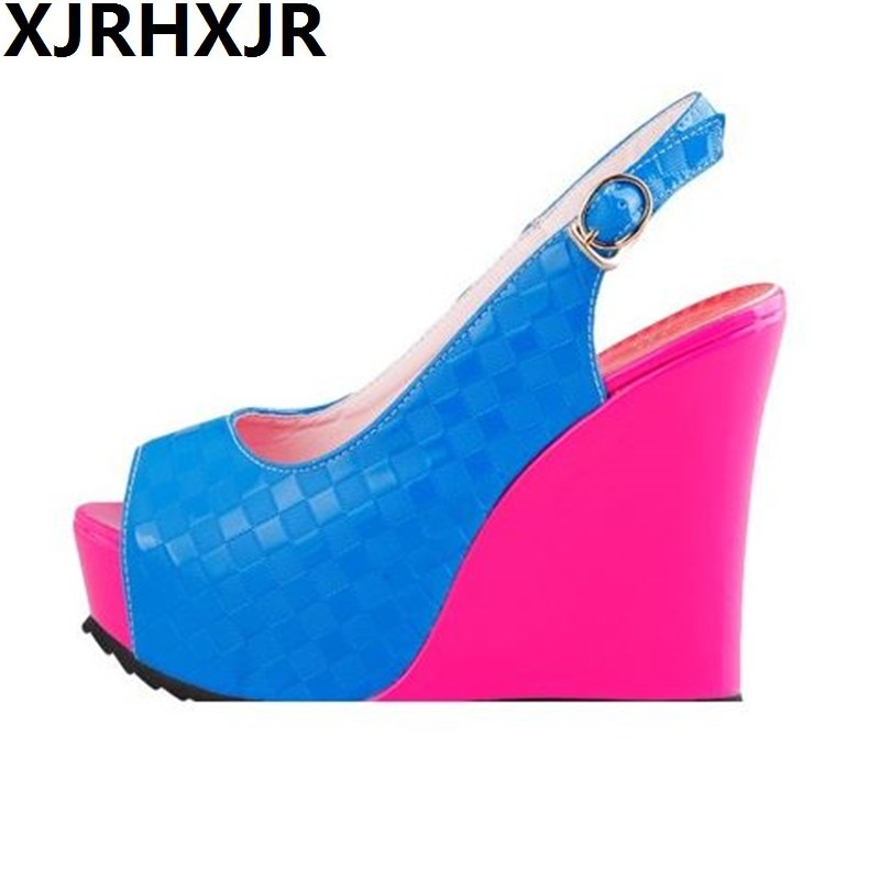 Plus Size 33-41 Ladies Sexy Gladiator Daily Sandals Women Summer Platform Wedge High Heel Sandals Casual Shoes Patent Leather<br>