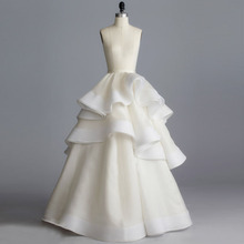 Haute Couture Ivory Wedding Skirt Best Quality Ruffles Tiered Organza Bridal Long Skirt Boutique Women Skirt 2017 Saia Faldas(China)