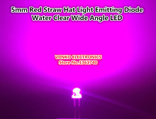 Free shipping 100pcs 5mm Pink Straw Hat Light Emitting Diode Water Clear Wide Angle LED