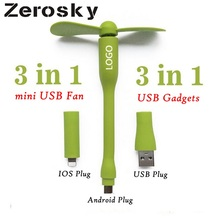 Zerosky Cute Portable Flexible 3 in 1 Mini Fan Bendable Removable USB Gadgets Low Power for PC laptop OTG For Iphone Android