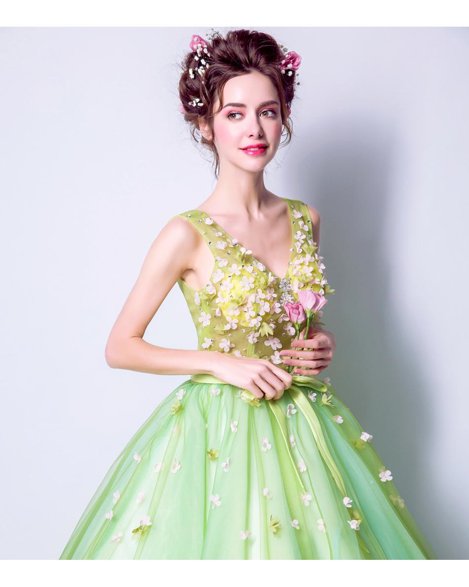 Angel Wedding Dress Marriage Bride Bridal Gown Vestido De Noiva 2017Soft powder, Qingjian Lvxian beauty, petals, green 9718 12
