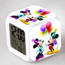 Minie e Mickey Mouse Action Figures Alarm CLock LED Colorful Touch Light Anime Figurines Kids Toy for girls